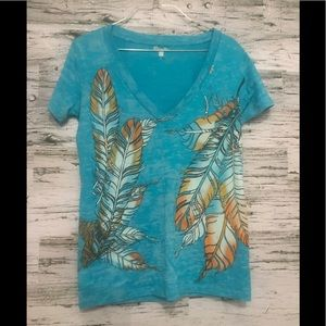 WRANGLER graphic feather themed tee